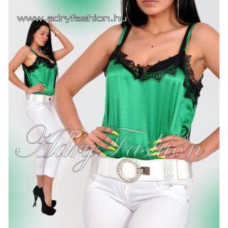Elegáns zöld selyem női felső csipke dísszel