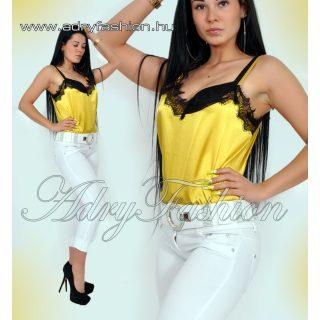 Elegns mustárszínű selyem női felső csipke dísszel