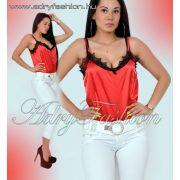 Elegáns piros selyem női felső csipke díszel