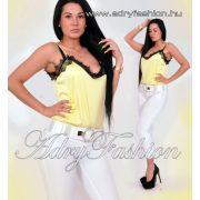 Elegáns sárga selyem női felső csipke dísszel