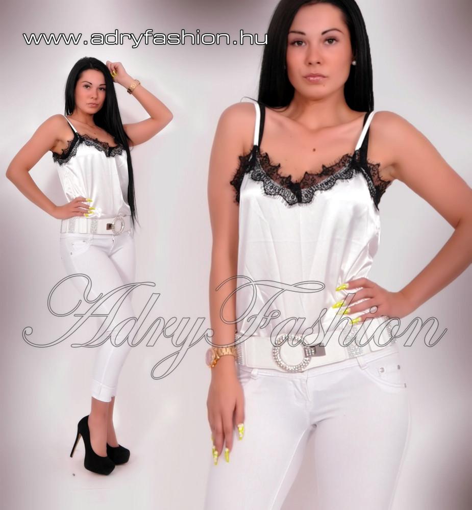 863fefa06d Elegáns fehér selyem női felső csipke dísszel - AdryFashion női ruha ...