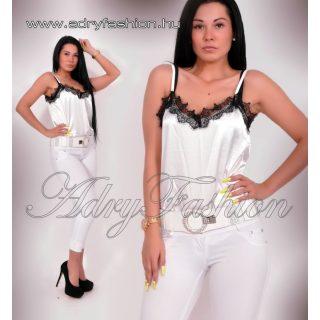 Elegáns fehér selyem női felső csipke dísszel