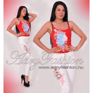 Virág díszes vékony pántú női body piros