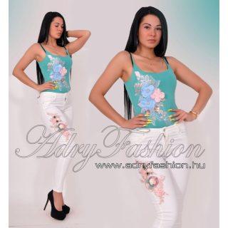Virág díszes vékony pántú női body türkiz