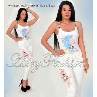 Virág díszes vékony pántú női body fehér