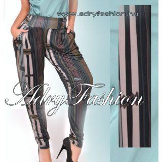 Fekete alapon barna - zöld csíkos zsebes női nadrág