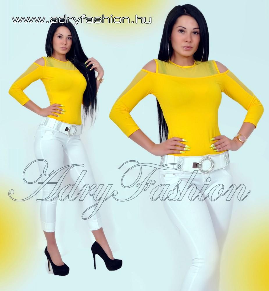 02d0fe6ef9 RENSIX sárga muszlin díszes felső - AdryFashion női ruha webáruház ...