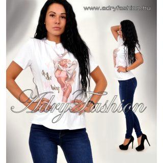 Fehér női pamut póló