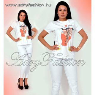 Fehér női pamut póló baby
