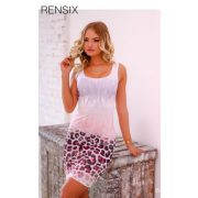 RENSIX rózsaszín fehér párduc mintás trikó ruha