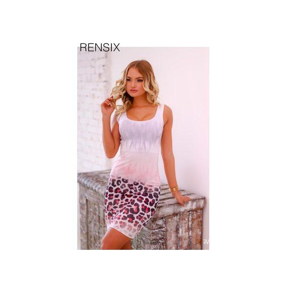 efa2a3069a RENSIX rózsaszín fehér párduc mintás trikó ruha - AdryFashion női ...