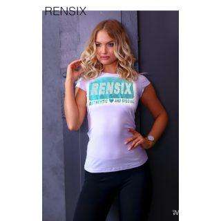 Rensix fehér póló metál kék írással és strasszal