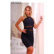 Rensix csipke díszes alkalmi női ruha fekete