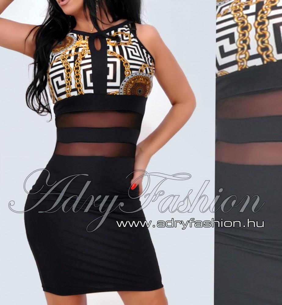 8b106cbacf Rensix fekete hálódíszes ruha mintás - AdryFashion női ruha ...