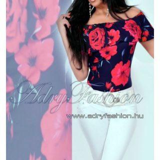 Virágos Vállra húzható női body kék színű