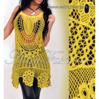 Mustár színű horgolt női ruha/tunika strandruha