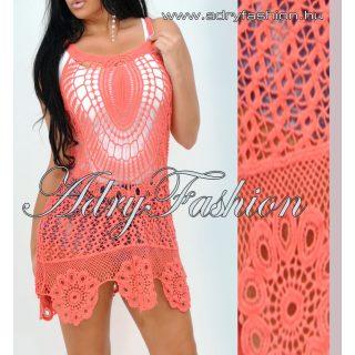 Korall színű horgolt női ruha tunika strandruha