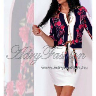 Sötétkék fehér virág mintás szatén női ing blúz