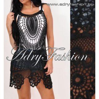 Fekete színű horgolt női ruha tunika strandruha