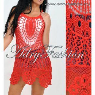 Piros színű horgolt női ruha tunika strandruha