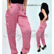 Lila szatén oldal zseb díszes női nadrág