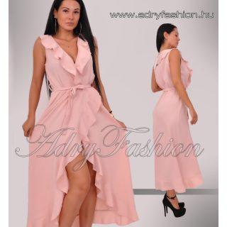 Púderszínű átlapolt oldalán fodros női ruha
