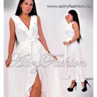 Fehér átlapolt oldalán fodros női ruha