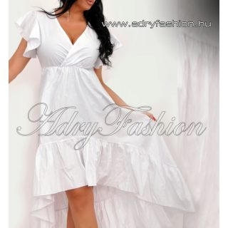 Fehér elől rövidebb hátul hosszabb fodros női ruha