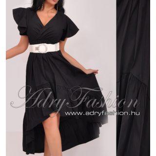 Fekete elöl rövidebb hátul hosszabb fodros női ruha - öv nélkül