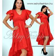 Piros elől rövidebb hátul hosszabb fodros női ruha