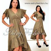 Keki elől rövidebb hátul hosszabb fodros női ruha