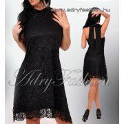 Fekete  csipke hátán nyitott masni díszes alkalmi női ruha