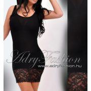 Fekete alul csipkés női trikóruha - aláöltöző