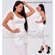 Törtfehér alul csipkés női trikóruha