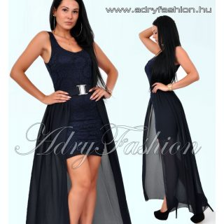 Sötétkék Csipke díszes elegáns alkalmi női ruha szett lecsatolható szoknyával 2in1