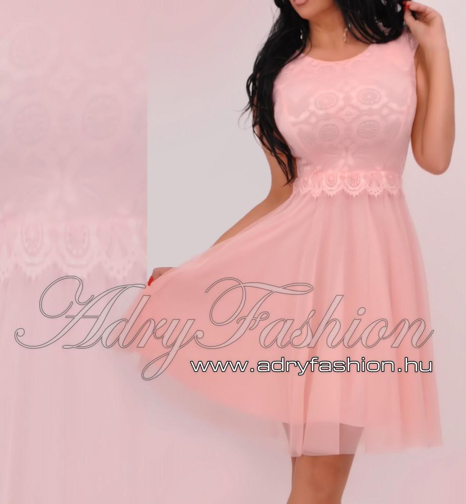 70eeebf03d Rózsaszín Csipke díszes elegáns alkalmi női ruha tüllös alsószoknyával