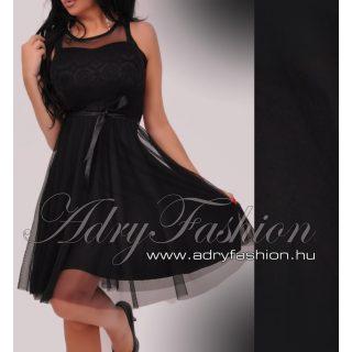 Fekete Csipke díszes muszlin betétes elegáns alkalmi női ruha tüll alsószoknyával