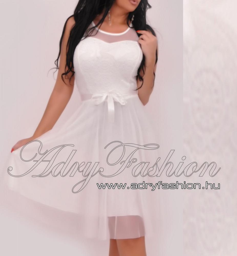 c684aca3f3 Fehér Csipke díszes muszlin betétes elegáns alkalmi női ruha tüll  alsószoknyával