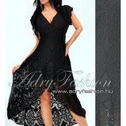 Fekete átlapolt csipke maxi ruha