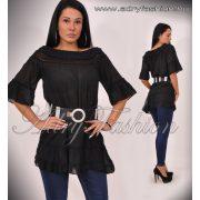 Fekete vállrahúzható csipkebetétes női ruha