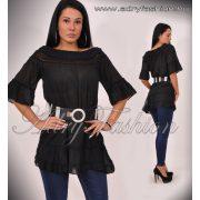 Fekete vállrahúzható csipkebetétes női ruha - strand ruha