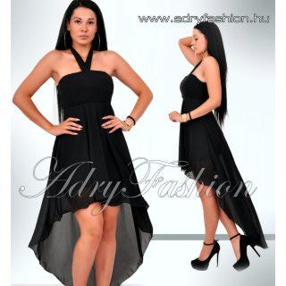 Elegáns fekete muszlin női ruha elől rövidebb hátul hosszabb