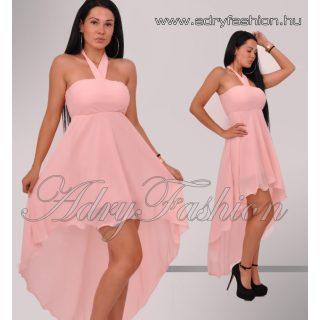Elegáns púderszínű muszlin női ruha elől rövidebb hátul hosszabb