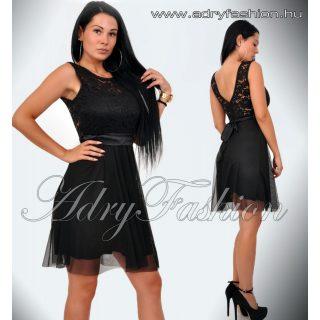 Elegáns fekete csipkebetétes női ruha sszatén szalaggal