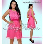 Elegáns pink csipkebetétes női ruha sszatén szalaggal
