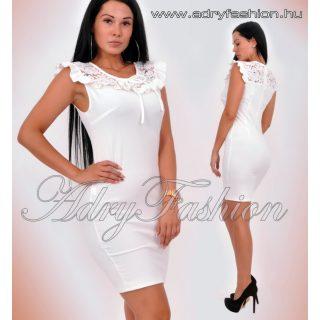 Fehér csipkedíszes fodros női ruha