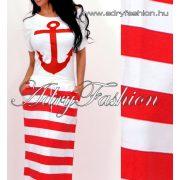 Piros fehér vasmacska horgonyos csíkos maxi ruha