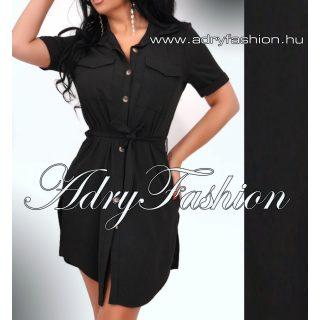 Fekete színű lenge derekán megköthető női ing ruha tunika