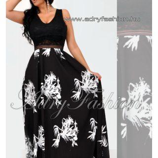 Fekete fehér mintás maxi alkalmi női ruha