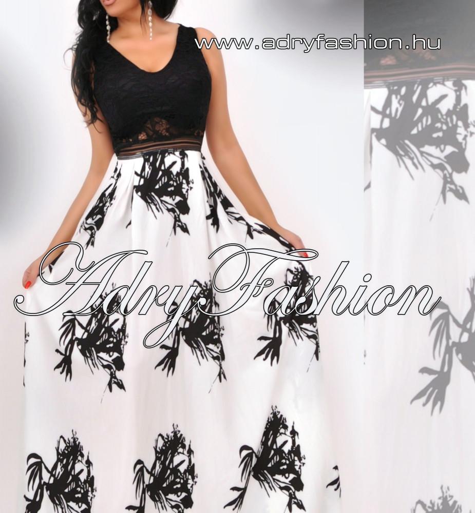 3e867dd688 Fekete fehér mintás maxi alkalmi női ruha - fehér szoknyás ...